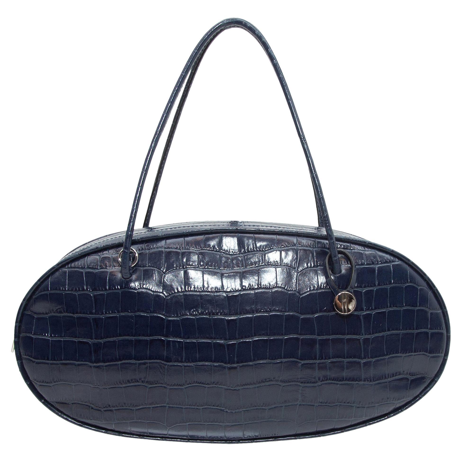 Hayward Navy Embossed Leather Oval Handbag