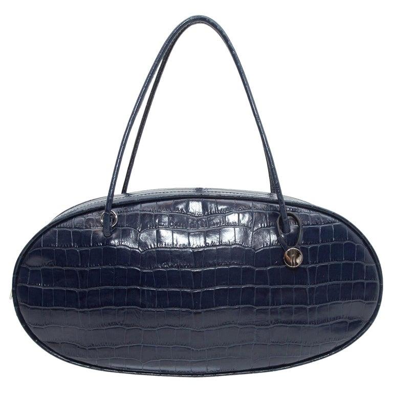 Hayward Navy Embossed Leather Oval Handbag For Sale