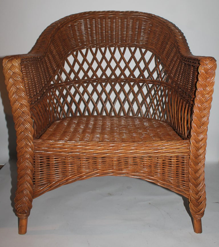 Haywood Wakefield Wicker Armchair with Cushions For Sale 3
