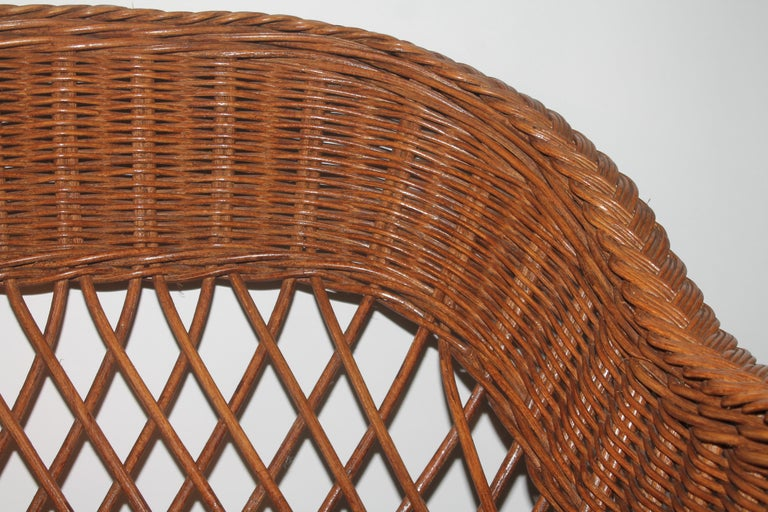 Haywood Wakefield Wicker Armchair with Cushions For Sale 5