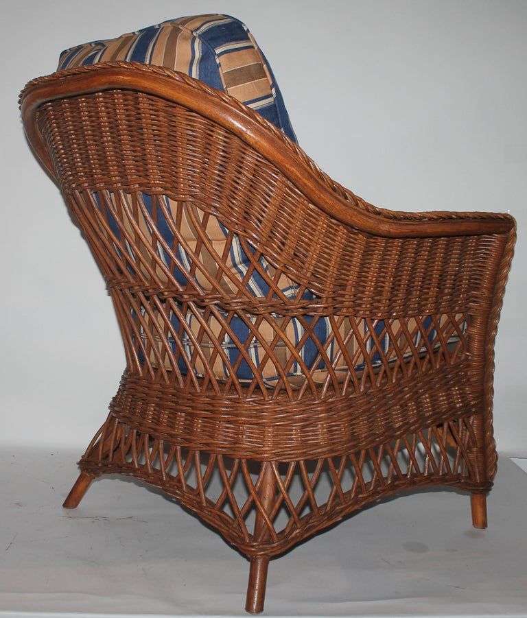 Adirondack Haywood Wakefield Wicker Armchair with Cushions For Sale