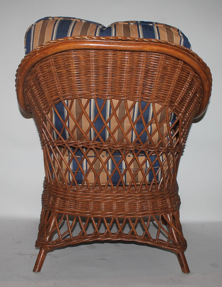 American Haywood Wakefield Wicker Armchair with Cushions For Sale