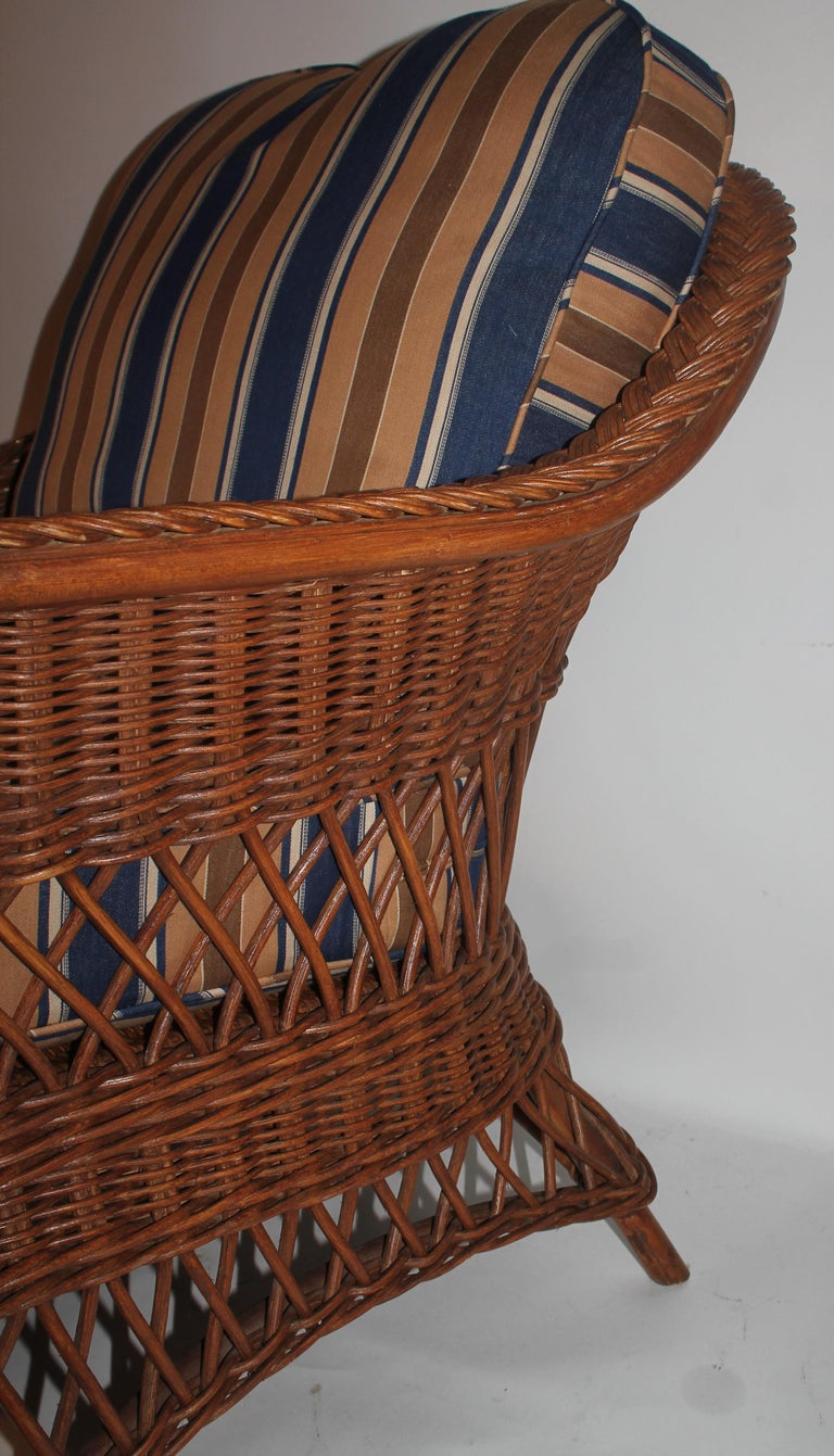 Hand-Woven Haywood Wakefield Wicker Armchair with Cushions For Sale