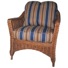 Haywood Wakefield Wicker Armchair with Cushions