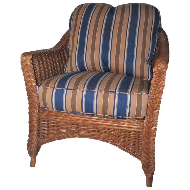 Haywood Wakefield Wicker Armchair with Cushions For Sale