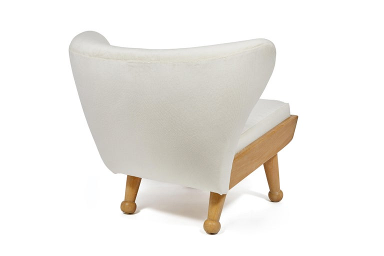 American Outdoor Bleached Teak Upholstered Hayworth Chair & Ottoman by August Abode For Sale