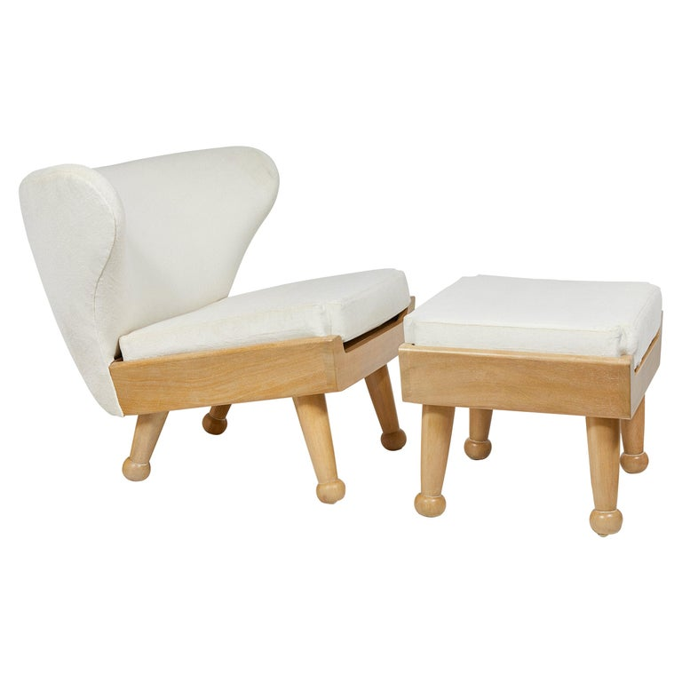 Outdoor Bleached Teak Upholstered Hayworth Chair & Ottoman by August Abode For Sale
