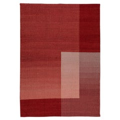 Haze Contemporary Kilim Area Rug Wool Handwoven in Red