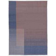 Haze Contemporary Kilim Area Rug Wool Handwoven Lake in Blue Large