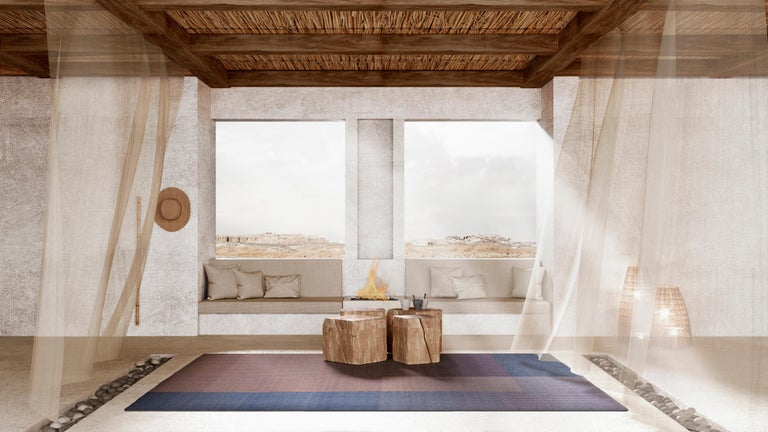 Haze is a contemporary Kilim rug collection inspired by the hazy view of landforms layered behind each other on a misty morning in Tuscany.   Haze rugs have a unique corduroy texture. The subtle change in the thickness of the cords dissolves the