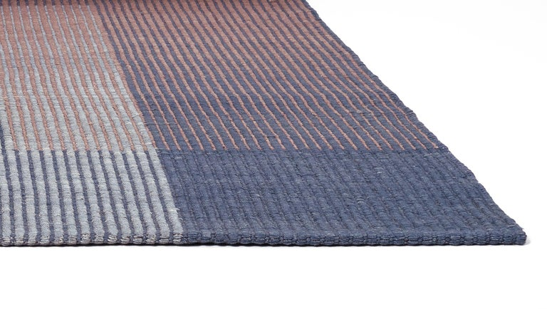 Modern Haze Contemporary Kilim Area Rug Wool Handwoven Lake in Blue Medium For Sale