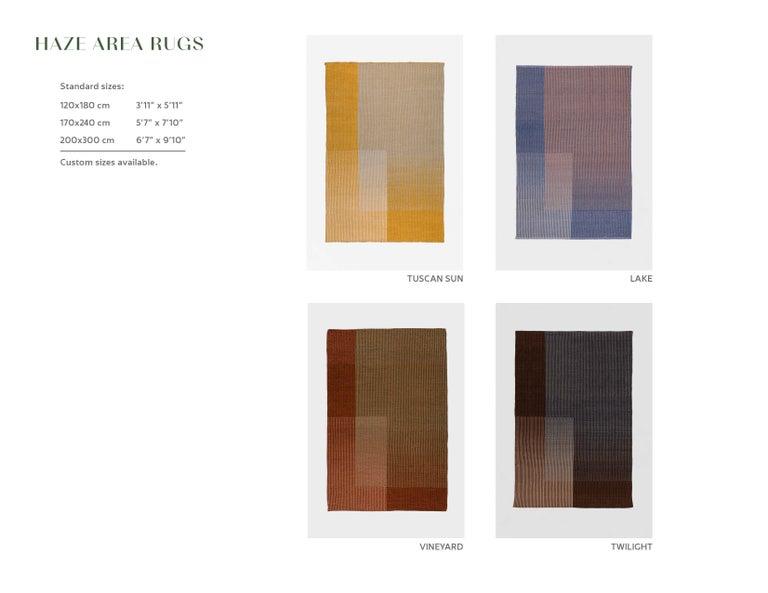 Haze Contemporary Kilim Area Rug Wool Handwoven Lake in Blue Medium For Sale 1