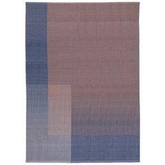 HAZE Contemporary Kilim Area Rug Wool Handwoven Lake in Blue Medium