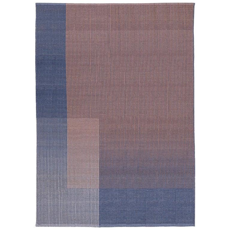 Haze Contemporary Kilim Area Rug Wool Handwoven Lake in Blue Medium For Sale