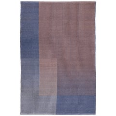 Haze Contemporary Kilim Area Rug Wool Handwoven Lake in Blue Small