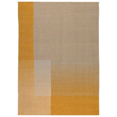 Haze Contemporary Kilim Area Rug Wool Handwoven Tuscan Sun in Yellow Large