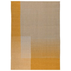 Haze Contemporary Kilim Area Rug Wool Handwoven Tuscan Sun in Yellow Medium