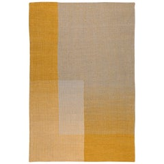 HAZE Contemporary Kilim Area Rug Wool Handwoven Tuscan Sun in Yellow Small