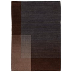 Haze Contemporary Kilim Area Rug Wool Handwoven Twilight in Brown Large