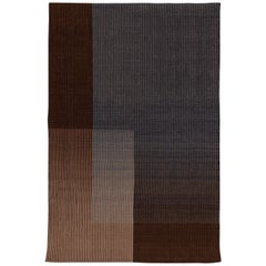Haze Contemporary Kilim Area Rug Wool Handwoven Twilight in Brown Small