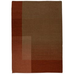 HAZE Contemporary Kilim Area Rug Wool Handwoven Vineyard in Terracotta Red Large
