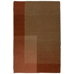 Haze Contemporary Kilim Area Rug Wool Handwoven Vineyard in Terracotta Red Small