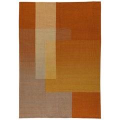 Haze Contemporary Kilim Handwoven Wool Rug in Orange