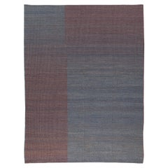 Haze Contemporary Kilim Wool Rug Handwoven in Blue and Purple