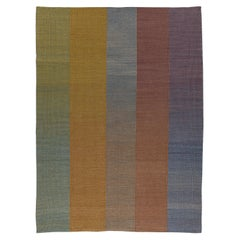 Haze Contemporary Kilim Wool Rug Handwoven in Blue Green Purple