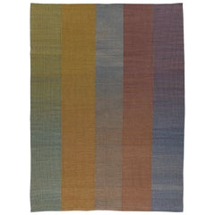 HAZE Editions Contemporary Kilim Area Rug Wool Handwoven in Blue in Stock