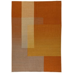 Haze Editions Contemporary Kilim Area Rug Wool Handwoven in Orange in Stock