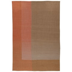 Haze Kilim Area Rug Wool Handwoven in Pink and Beige