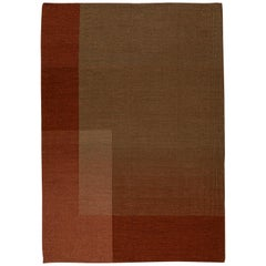 Haze Kilim Area Rug Wool Handwoven in Turkey Vineyard in Terracotta Red Medium