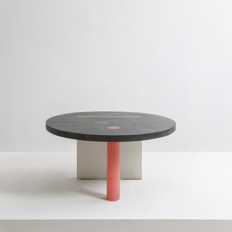 Modern Haze Low Table in Black and Red Resin by Wonmin Park For Sale
