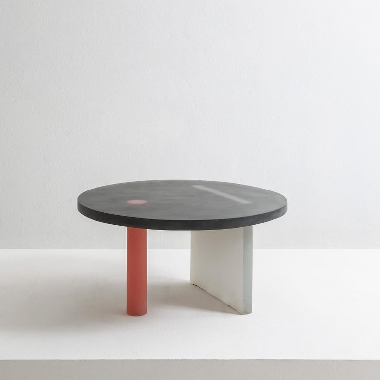 Haze Low Table in Black and Red Resin by Wonmin Park In New Condition For Sale In Milan, IT