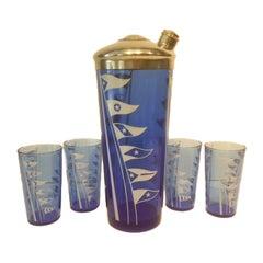Hazel Atlas Cobalt Blue Glass Cocktail Shaker Set with White Nautical Flags