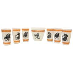 Hazel Atlas Orange White & Black Greek Key Theme 6 Cocktail Glasses & Ice Bucket