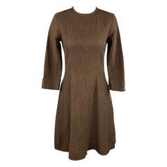 HAZEL BROWN Size 2 Brown Wool / Cotton Textured Long Sleeve Dress