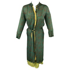 HAZEL BROWN Size 2 Green Floral Silk Wrap Dress