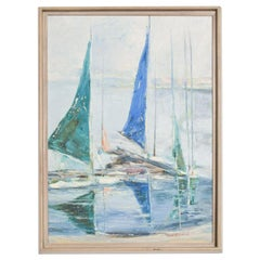 Hazel Rakestraw Art Oil on Canvas Sail Boats California Modern