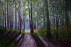 A Shaft Of Forest Light, Painting, Oil on Canvas