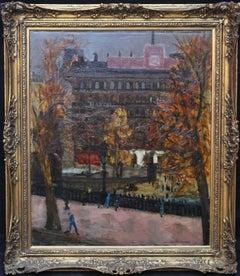Trafalgar Square London - British art 50's Impressionist oil painting cityscape