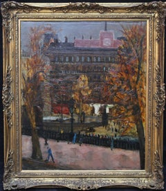 Trafalgar Square London - British art 50's Impressionist oil painting cityscape