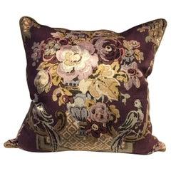 Hand Block Printed Decorative Cushion By Hazelton House Rose Carol Aubergine