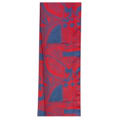 He Sees, poly crepe de Chine scarf, bee,red,blue, artist design, Native American