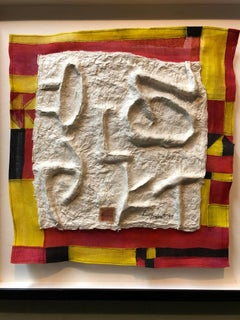 Modernist Abstract Cast Paper Sculpture Textile Collage Wall Hanging