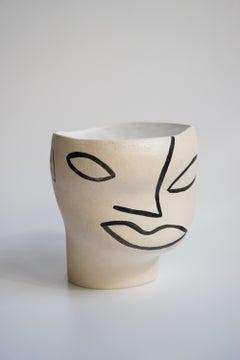 Head Black and White Ceramic Vessel