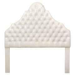 Head Board, White Ultra Leather, Queen Size, American Made