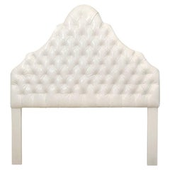 Head Board, White Ultra Leather, Queen Size, Made in America