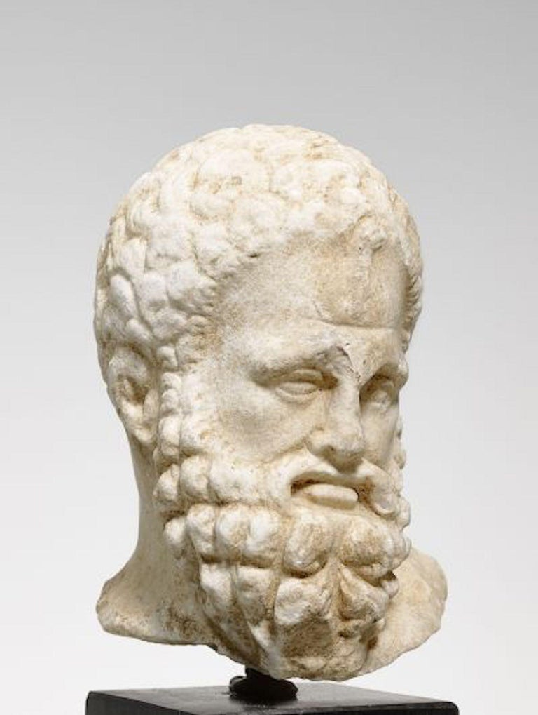 "Hand-Carved Head ""Herakles Farnese"" Hellenistic, ca. 2nd/1st c.BC, White Crystalline Marble  For Sale"